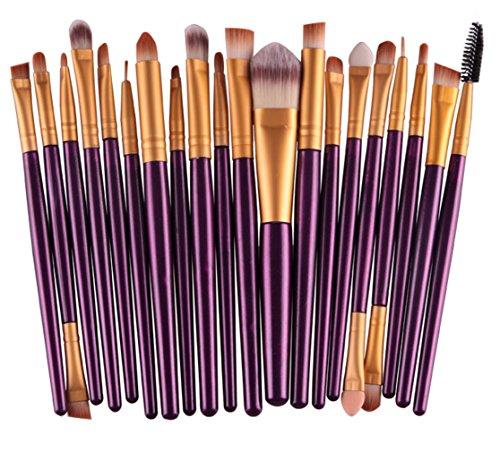Bigood Kit De Pinceau Maquillage Professionnel 20PCS Brosses Sourcils Blush Fond De Teint