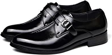 Men Casual Leather Oxfords Business Monk Strap Slip On Work Driving Loafers Walking Shoes Buckle Boat Moccasins