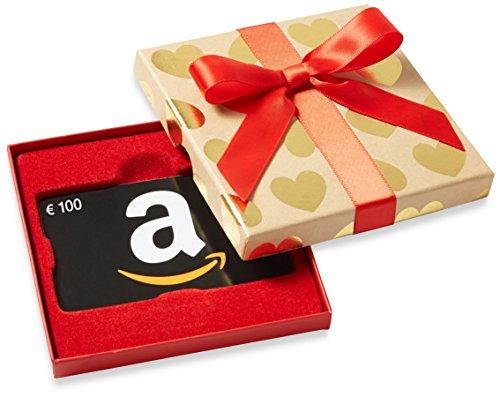 Amazon.de Geschenkkarte in  Geschenkbox - 100 EUR (Goldene Herzen)