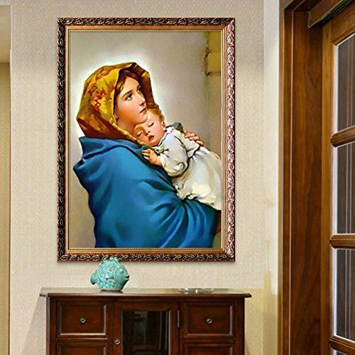 SUNNYFOR Pintura Sin Marco Virgen María Sosteniendo El Bebé Cartel Y Lienzo Impreso De Jesucristo, Madre, María, Cuadros De Arte para La Sala De Estar Decoración del Hogar