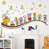 Autocollant Mural Animal Coupe Musique Enfants Papier Peint De Rome Autocollant DéCoratif Salon Baby Cartoon Autocollant...
