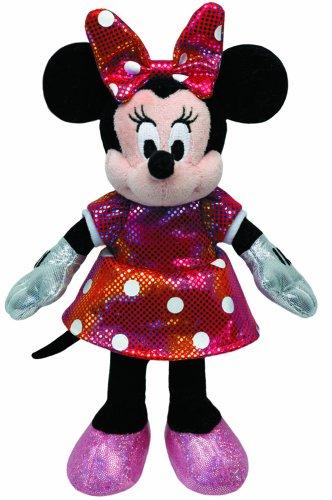 TY 90175 - Disney - Minnie Glitter Regenbogen mit Sound, buntes glitzerndes Kleid und Schleife, 30 cm (Mickey Ty Beanie)
