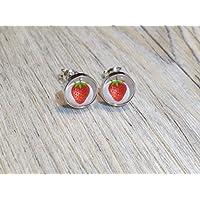 Erdbeere 925 Sterling Silber 8mm Ohrringe Ohrstecker