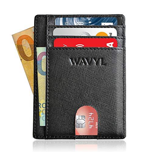 013dfaffbf WAVYL Portafoglio Uomo Piccolo Sottile - Protezione RFID NFC Di 3a  Generazione - Mini Porta Carte