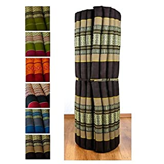 livasia Kapok Liegematte der Marke Asia Wohnstudio, 200cm x 110cm x 4,5cm; Rollmatte bzw. Yogamatte, Thaimatte, Thaikissen als asiatische Rollmatratze (braun)
