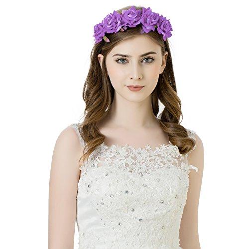 AWAYTR Mädchen Braut Blumenkrone Stirnband Haarband Blumen Girlande Kopfstück zum Hochzeit Parteien (Helles Lila)