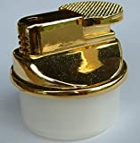 Gas Feuerzeug Tischfeuerzeug Einsatz Gold rund 3,7 x 4,0 cm elektro Zündung