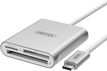 UNITEK Superspeed Aluminum USB 3.0 Multi-in-1 Card Reader for CF SD TF Micro SD SD MD MMC SDHC SDXC for MacBook Pro Air iMac Mac Mini Microsoft Surface Pro Lenovo Yoga PC Type C Card Reader