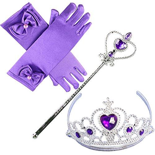 Prinzessin Zauberstab,Queen Krone,Strass,Tiaras & Handschuh Mädchen Geschenk-Set Prinzessin Karneval Verkleidung Party Cosplay Mädchen Handschuhe Halloween ()
