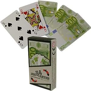 -Jeu 54 Cartes Fun Aspect Billet 1 Euro idéal Poker Belote Rami