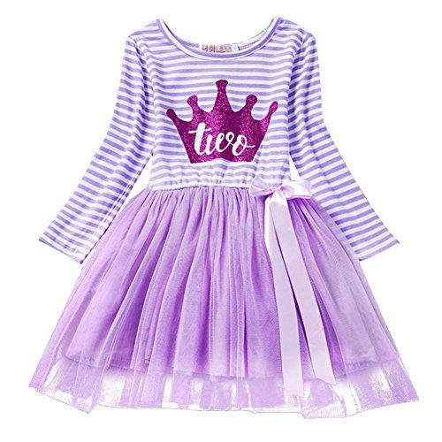 Neugeborene Säuglings Kleinkind Baby Mädchen Ist es Mein 1. / 2. / 3. Geburtstags Gestreiften Tüll Tütü Prinzessin Kleid mit Bowknot Partykleid Fotoshooting Outfits Kostüm Violett (Gestreiftes Kleid Kostüm)