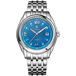 binlun Herren Automatik Uhr Edelstahl großes Gesicht Uhren für Männer mit Datum (blau)