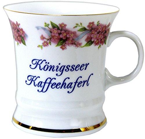 magicaldeco Porzellan mit Goldrand- Tasse, Kaffeepott, Becher - Königsee - Motiv Vergißmeinnicht