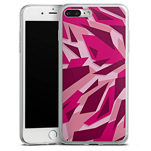 Apple iPhone 6 Plus Slim Case Silikon Hülle Schutzhülle Pink Camouflage Muster Silikon Slim Case transparent