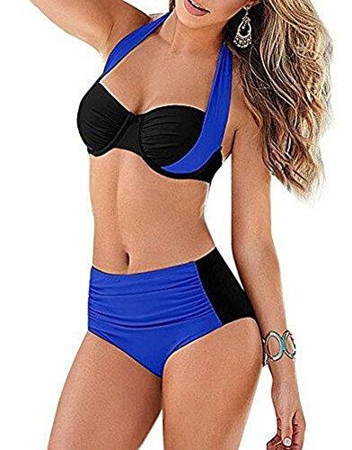 Arrowhunt Damen Mädchen Neckholder Push Up Bikini Set Schwarz Und Blau