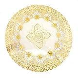 DealMux Runden Gold-Ton-Spitze Tischset Blumen-Muster-Tabelle Cup Mat