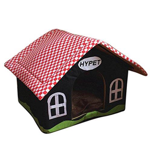 Qianle Groß Hundehaus Komfort Hundehöhle Hundebett Hundehütte Katzenbett im Form von Hause Schwarz