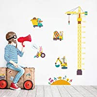 decalmile Construction Crane Height Chart Wall Stickers Animal Truck Kids Growth Measure Wall Decals Boys Playroom Childrens Bedroom Wall Decor