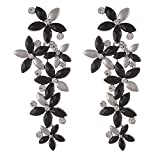 Tiaraz Fashion Jewellery Designer Hanging Leaves Fancy Party Wear Earrings for Girls and Women (Black Silver)