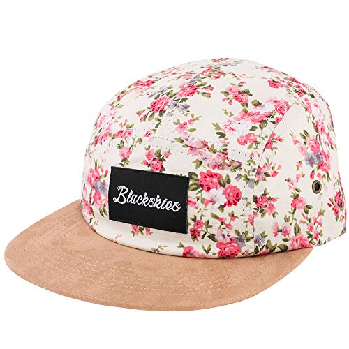 Blackskies 5-Panel Cap mit floralen Muster Unisex Baseball Mütze, Sakura, Einheitsgröße (Floral Hat Panel)