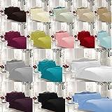 NON IRON Luxury Parcale Plain Dyed Duvet Cover & 2 Pillow Cases Bed Set
