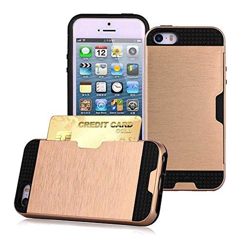 Apple iPhone 5S - Double Couche Slim Armure Hybrid Rigide Housse Étui avec Carte de crédit Carte Support + Gratuit Écran Protection Or
