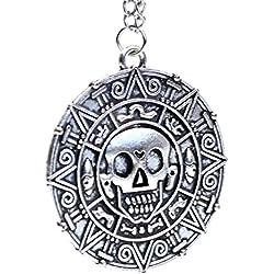 Tono Plata - Piratas del Caribe Moneda Azteca encanto cráneo Medallón collar de disfraces