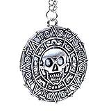 Silber Ton - Fluch der Karibik Aztec-Münzen-Medaillon Schädel-Charme-Abendkleid Halskette