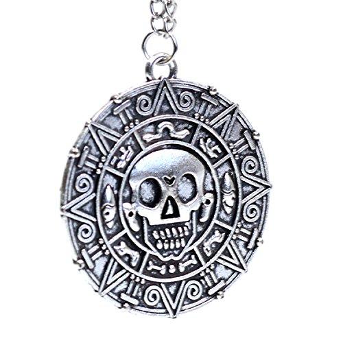 Silber Ton - Fluch der Karibik Aztec-Münzen-Medaillon Schädel-Charme-Abendkleid Halskette (Fluch Karibik Zubehör Der)