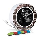 Reorda Selbstklebendes Metallband für Magnete (weiß) - Schneidbar I Belastbar I Flexibel I Ferroband mit 6 bunten Bonus Haftmagneten (Band Länge 3m, Breite 4cm)