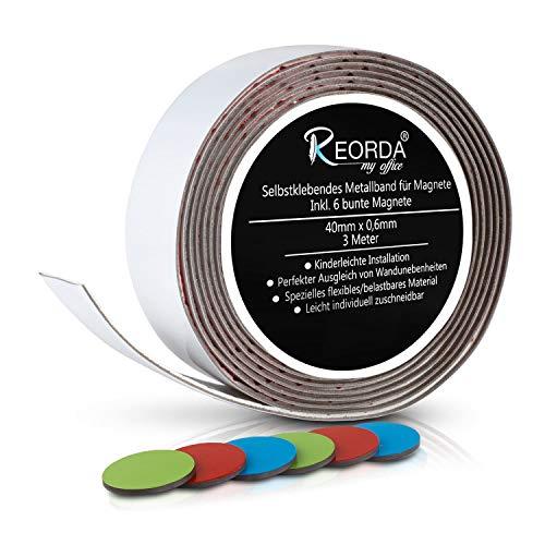 Reorda Selbstklebendes Metallband für Magnete - Schneidbar I Belastbar I Flexibel I Ferroband mit 6 bunten Bonus Haftmagneten (Band Länge 3m, Breite 4cm)