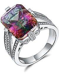 Aurora Tears Mujer Elegante Multicolor Mystic Fire Topaz Zircon Gemstone Diamond Anillo de cóctel