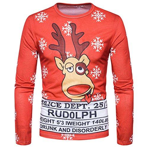Weihnachtspullover Männer URSING Herren sweatshirt Xmas Langarm Shirt Pullover Herbst Winter Bluse Weihnachten Drucken Herren Lange Ärmel T-Shirt Bluse Langarmshirt Rundhals (Christmas F, M)