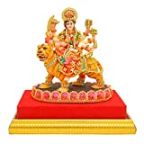 PAPILON Handmade Gold Plated Durga Maa on Kamal Statue Showpiece (5 x 4 x 8-inches)