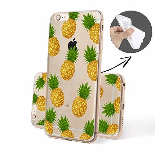 FINOO   Silikon-Handy-Case für iPhone 5 / 5S   weiche, transparente, flexible Silikon-Handy-Hülle mit verschiedenen modernen Motiven für Apple Smartphone   Newton Ananas