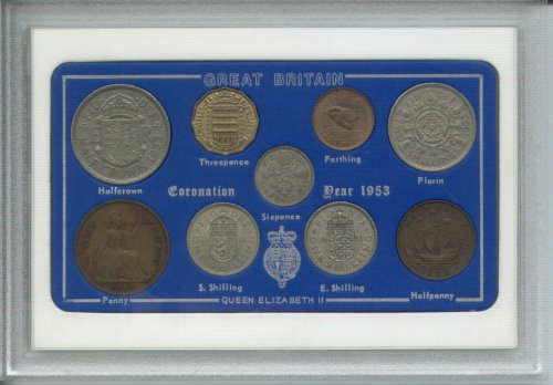 1953 GB Great Britain British Coin Birth Year Vintage Retro Gift Set (64th Birthday Present or Wedding Anniversary)