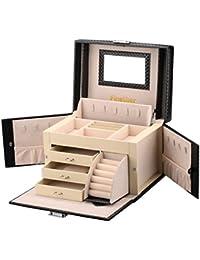 Finether Boîte à Bijoux Crocodile Grain Cuir de Maquillage Verrouillable Storage avec Couvercle Relevable, Miroir et Tiroirs Noir