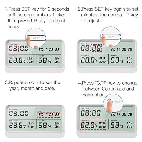 Digitales Thermo-Hygrometer, AngLink 16:9 LCD Breitbild Monitor Thermometer Hygrometer mit Datum und Uhrzeit, Luftfeuchtigkeitsmesser mit Magneten und Klappständer (Weiß) - 6
