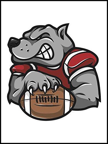 Fliesenaufkleber Fliesentattoos für Bad & Küche - Küchenfliesen für weiße einzelne Fließen empfohlen 15x20 cm - Sport Maskottchen Logos - Silber Hund Rugby-Maskottchen-Logo