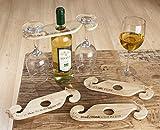 1 x Weinflaschen- und Gläserhalter Holz natur Spruch: Wein & Freunde, je älter umso besser Breite 26 cm, Geschenk