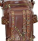 OMAS Damen Herren Leder Steampunk Tasche Vintage Schulter Steampunk Handtasche Gothic Taille Packs Bein Tasche, Antike Bronze,