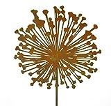 Metallmichl Edelrost Blumenstecker Allium 40cm Durchmesser (Flach) Gesamthöhe 160 cm