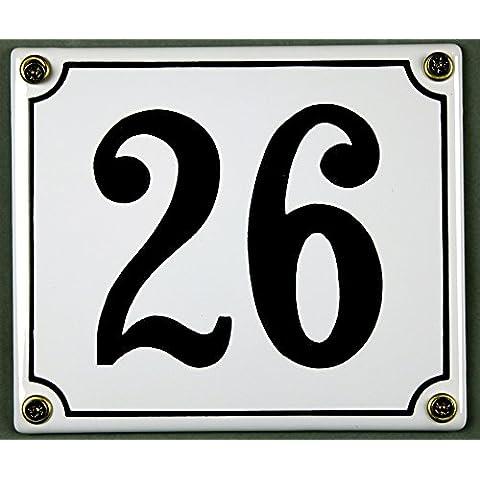 Targa Smaltata con numero civico - numero selezionabile da 1 a 30, Colore bianco/nero, 12 x 12 cm e 12 x 14 cm, Resistente alle intemperie e alla luce, 26 weiß/schwarz 12x14cm