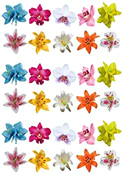 Superbes fleurs comestibles en papier hostie pour décoration des gâteaux, orchidées, et lys, lot de 30