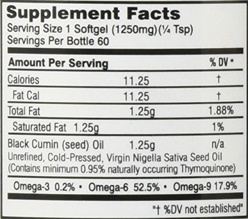 Amazing Herbs – Black Seed 100% Pure Cold-Pressed Oil 1250 mg. – 60 Softgels