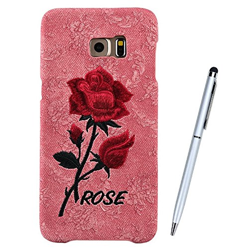 Ricamo Custodia per iPhone 6, Cover in Silicone per iPhone 6s, vioela Unique Vintage Rosso Rosa motivo floreale Cover Backcase morbida in TPU per Apple Iphone 6 6s 4.7 pollici, colore: rosa, PLASTICA, Red