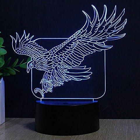 Adler 3D Optische Illusions-Lampen, FZAI 7 Farben Berührungsschalter Schreibtisch LED Nacht Lichter mit 150cm USB-Kabel zum Kinder Weihnachtsgeschenk Haus Dekoration
