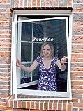 easy life Insektenschutz Fenster greenLINE 120 x 140 cm in Weiß Fliegengitter mit ALU Rahmen Insektenfenster ohne Bohren individuell kürzbares