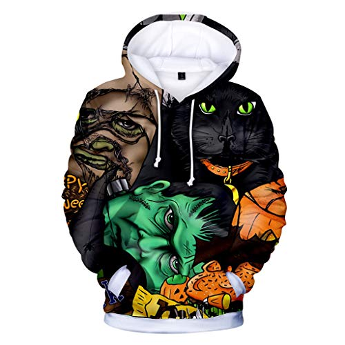 MasteriOne Herren Hooded Sweatshirt Halloween Print Realistic 3D Print Round Neck Pullover Hoodies with Big Pockets Long Casual Drawstring