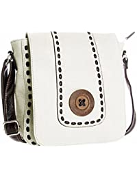 Big Handbag Shop Womens Designer Boutique Trendy Vegan Leather Wood Button  Messenger Shoulder Bag eb3e1fc89a1f4